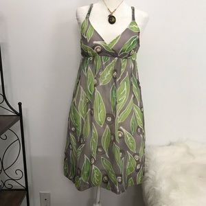 Vince WaterColor Green Leaf Silk/Cotton sundress